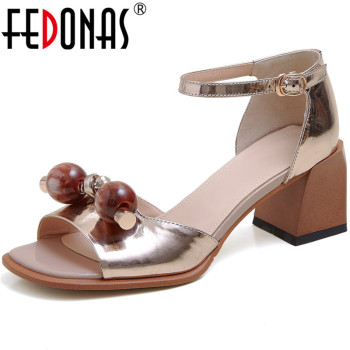 FEDONAS Sweet Mixed Colors High Heels Sandals For Girls Genuine Leather Peep Toe Women Pumps Summer 2020 Party Basic Shoes Woman