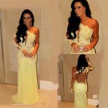 Платья для выпускного вечера желтые кружевные шифоновые вечерние