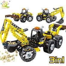 HUIQIBAO 357Pcs הנדסת מלגזה משאית אבני בניין טכני לתפוס לחפור מכונת Operato איור צעצועי לבנים ילדים