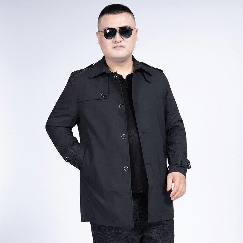 Season Leisure Medium Length Money Loose Plus Fat plus Men Windbreaker Male Thin Coat Big Size Men's Wear
