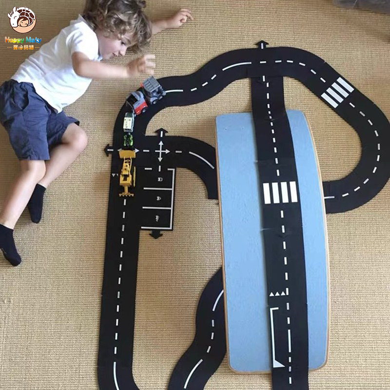 Children's Car Track Puzzle DIY Building Blocks Highway Stitching PVC Toys Kids Game Puzzle Set Boys And Girls Christmas Gift P1