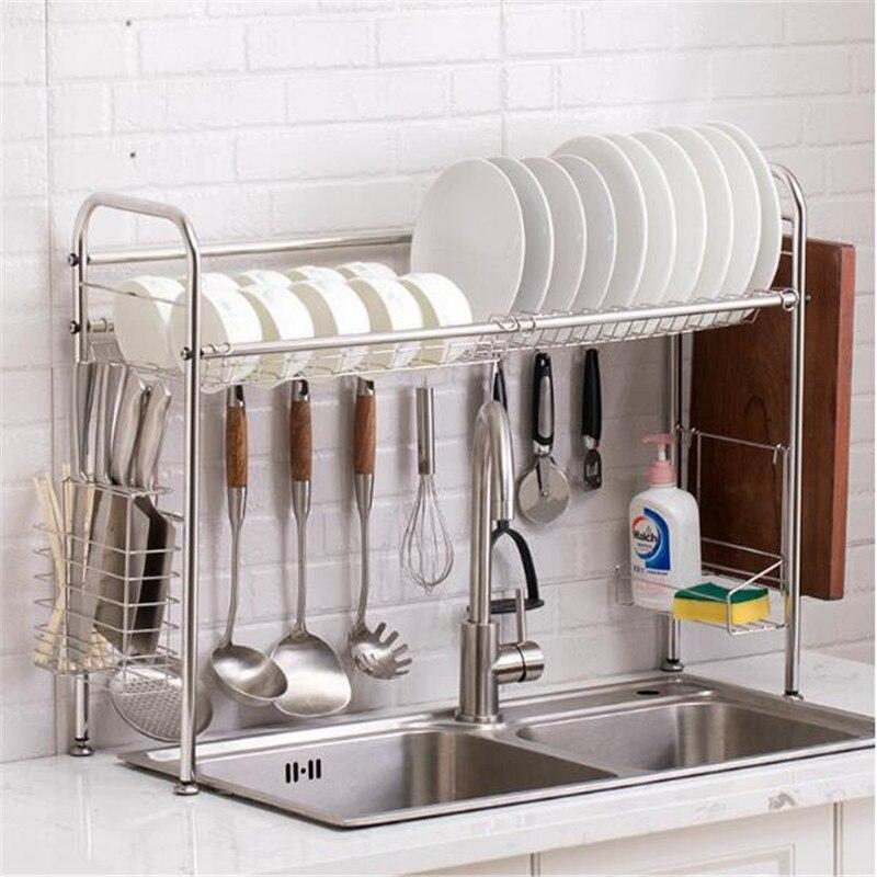 Égouttoir de cuisine argent 60/80cm | Étagère de rangement en acier inoxydable pour évier support de rangement organisateur