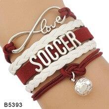 Infinity Love Soccer Mom Bracelets Coaches Faith Football Charm Leather Mens