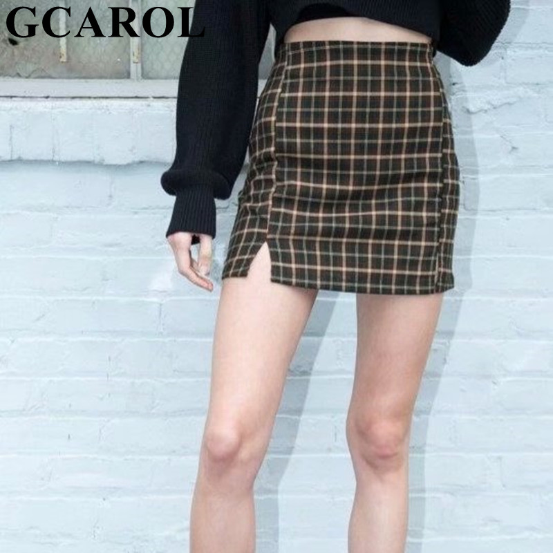 GCAROL New Women Plaid Both Sides Split Sexy Skirt Preppy Style Empire Mini Skirt Stretch Invisible Zip Wrap Hip Skirt