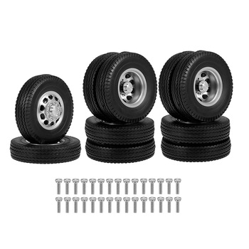 Front & Rear Rubber Low Loader Wheels Tire Tyre With CNC Aluminum Rims for Tamiya 1/14 RC Tractor Trailer Truck - discount item  12% OFF Remote Control Toys