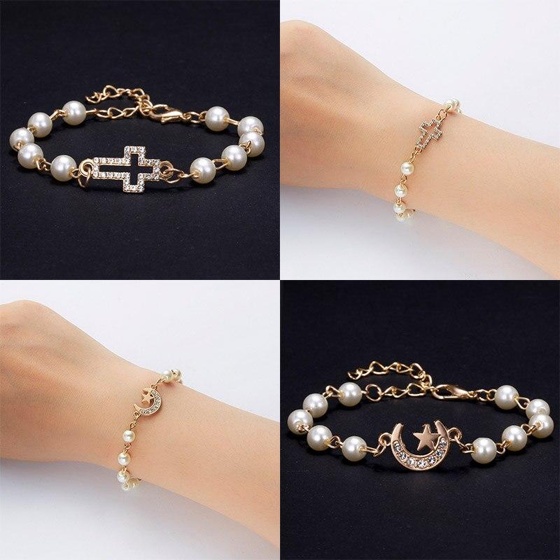 Women 18k Gold Filled Rhinestone Star Bangle Bracelet Chain Charm Bridal Jewelry