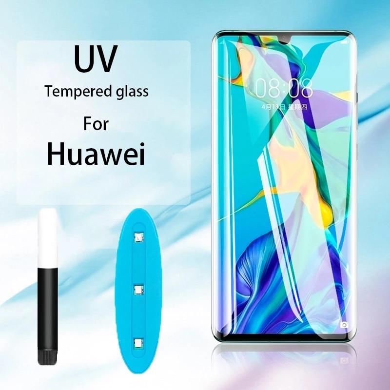 Pegamento líquido UV curvo transparente, vidrio templado completo parágrafo Huawei Companheiro 30 20 Pro, Protetor de pantalla pará P30 20