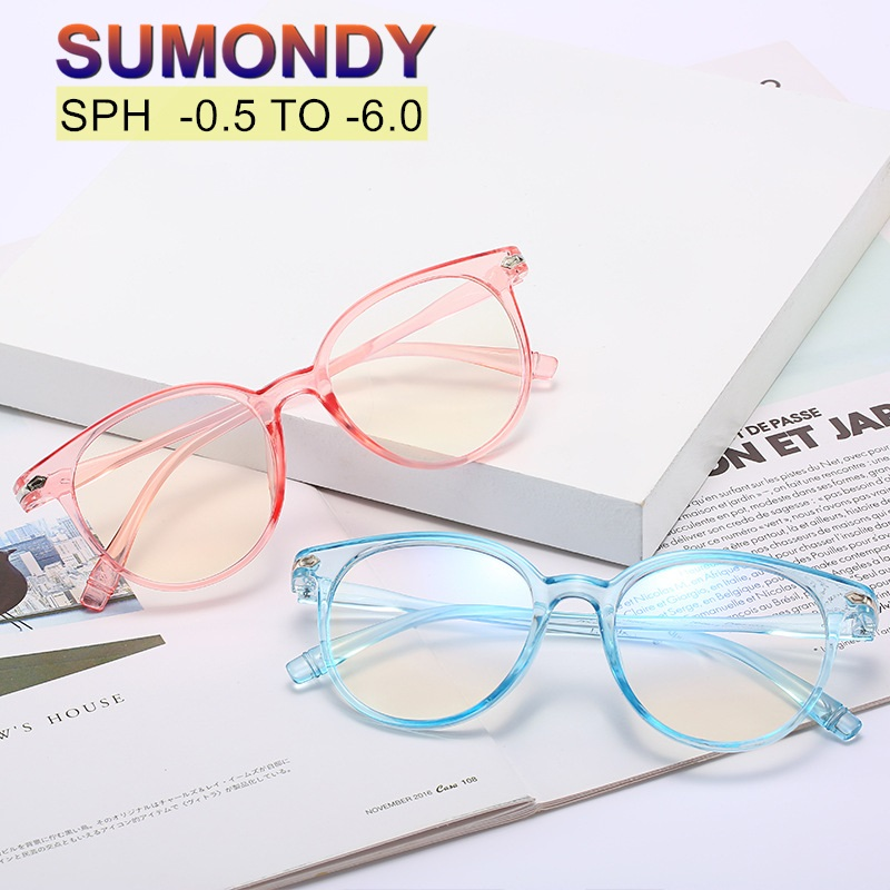 SUMONDY Myopia Glasses Dioptre -0.5 To -6.0 Men Women Fashion Transparent Frame  Prescription Spectacles For Neartsighted UF65