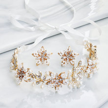 Fashion Flower Wedding Bride Headband and Earrings Women Prom Bridal Hair Accessories Handmade Headwear for