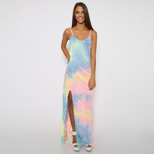 Tie Dye Long Maxi Dress Spaghetti Straps Summer Sleeveless Party Dress V Neck Printed Sundress Split Fashion Beach Dress Clothes crisscross neck tie dye cami dress