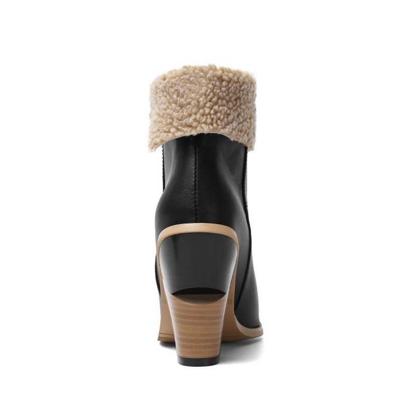חדש נשים נעלי מגפי חורף חם מגפיים עם פרווה קרסול מגפי גודל גדול 34-45