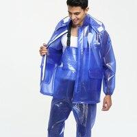 Männer Regen Mantel Jacke Wasserdicht Overall Transparent Undurchlässig PVC Dicke Regen Hosen Chubasquero Hombre Nassen Wetter Getriebe