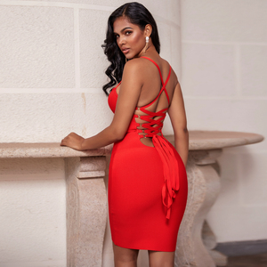 Image 1 - Ocstrade Bandage Rayon Dress Autumn Women 2020 New Lace Up Sexy Bandage Dress Red Backless Bodycon Night Club Party Dresses