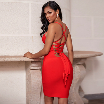 Ocstrade Bandage Rayon Dress Autumn Women 2020 New Lace Up Sexy Bandage Dress Red Backless Bodycon Night Club Party Dresses summer satin sexy backless lace up slim bodycon dress sexy club sleeveless bandage dresses women sexy party dress