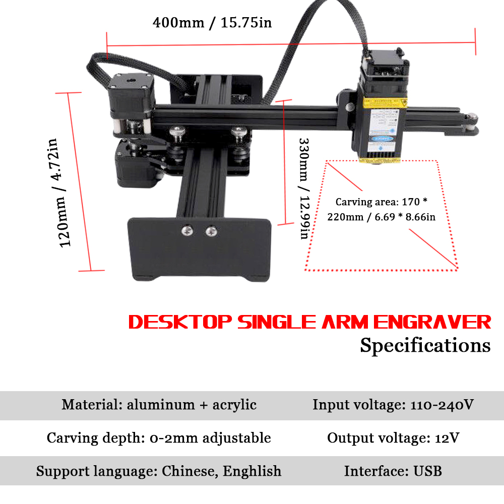 10W Desktop Single Arm Engraver Portable DIY Engraving Carving Machine Mini Carver Light Engraving Machine Cutting Plotter