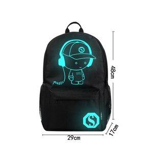 Image 5 - Aydınlık moda sırt çantaları öğrenci animasyon okul çantaları için erkek kız genç USB şarj bilgisayar anti hırsızlık Laptop sırt çantası