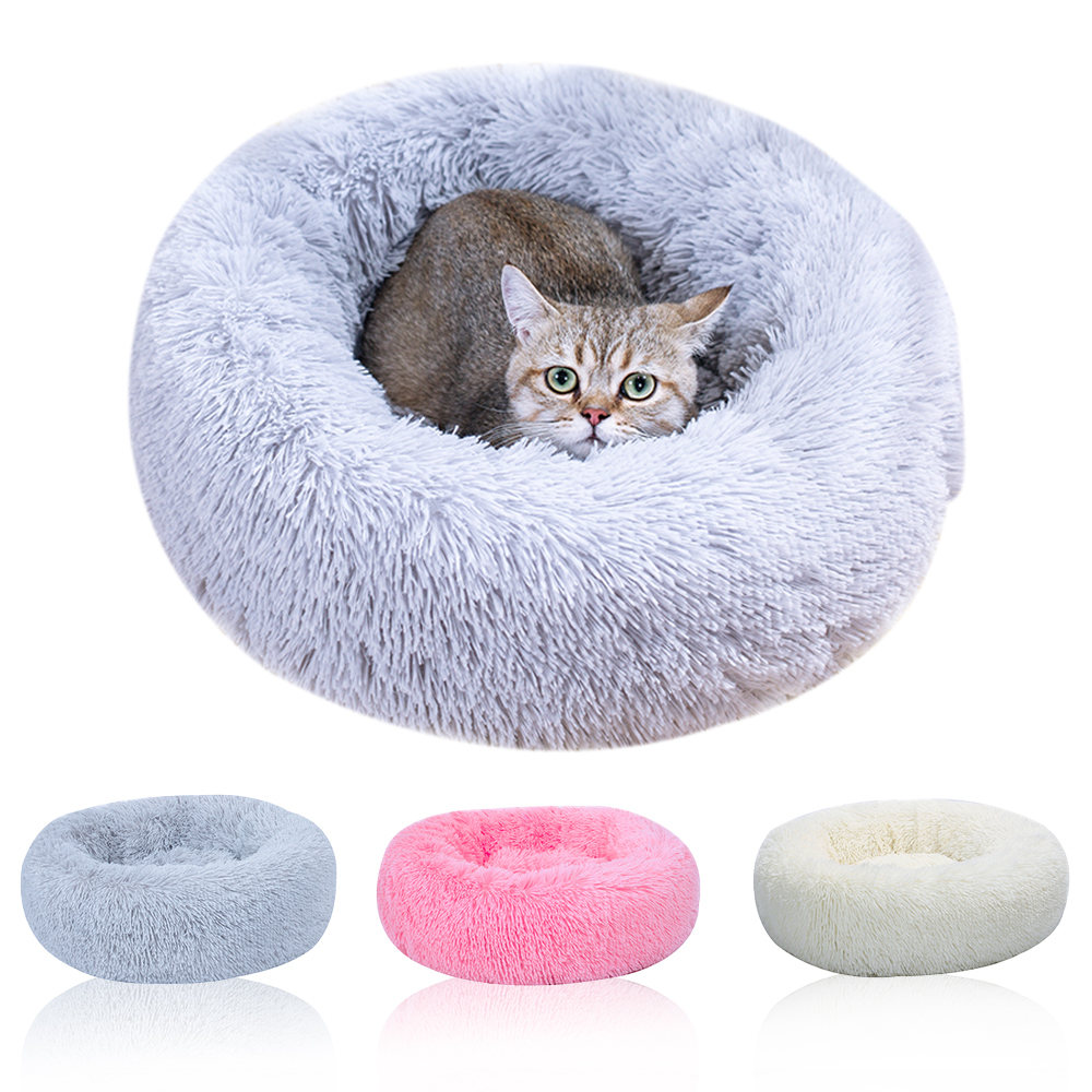 DIDIHOU Long Plush Super Soft Pet Bed Kennel Dog Round Cat Winter Warm Sleeping Bag Puppy Cushion Mat Portable Cat Supplies Soft