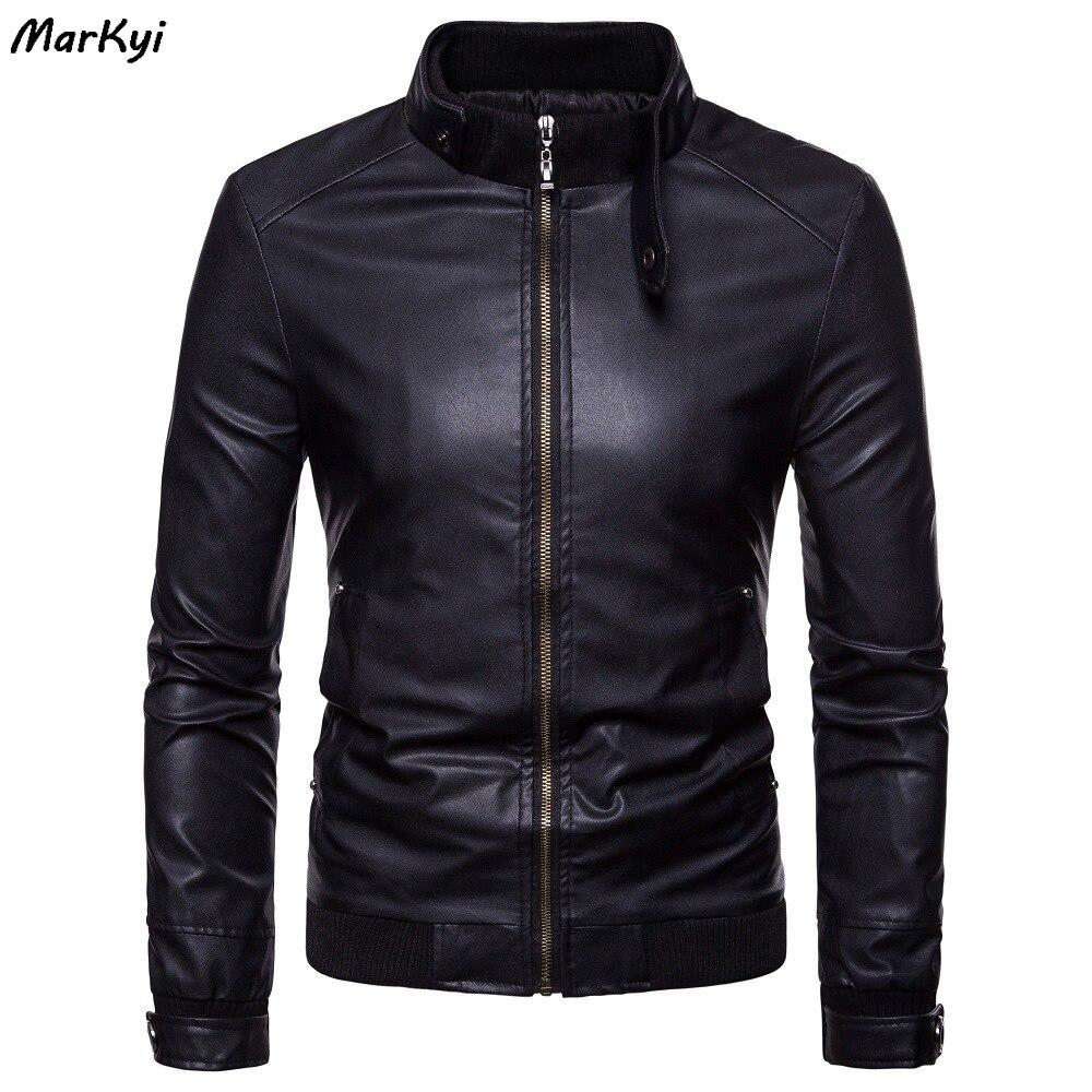 MarKyi Slim Fit Men Leather Jacket Vintage Black Zipper Male Motorcycle Bomber Jacket Pocket Stand Collar Men Leather Coat