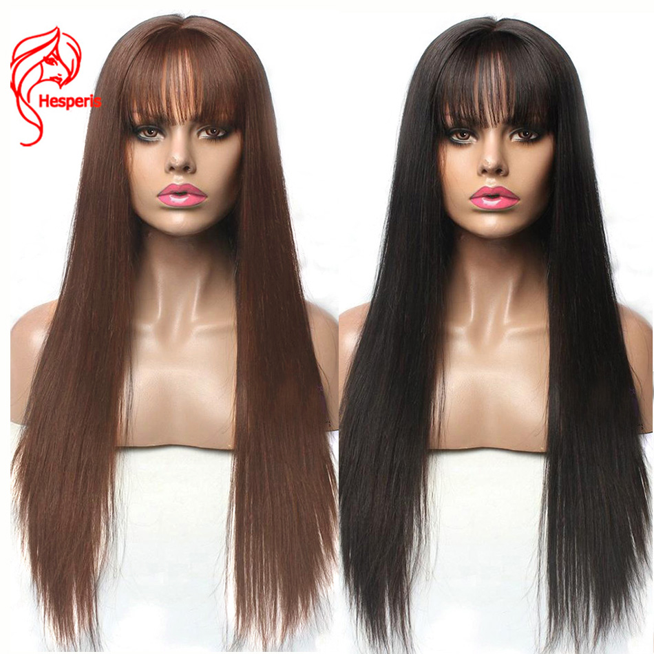 Hesperis Lace Front Human Hair Wigs With Bangs For Black Woman Brazilian Remy 13X6 Lace Front Wigs Pre Plucked With Baby Hair