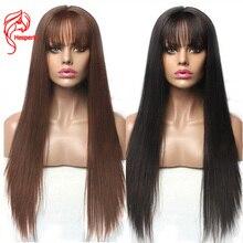 Hesperis pelucas de cabello humano con encaje frontal, con flequillo, brasileño, Remy, 13x6, prearrancado, 5x5, Base de seda, cierre de encaje