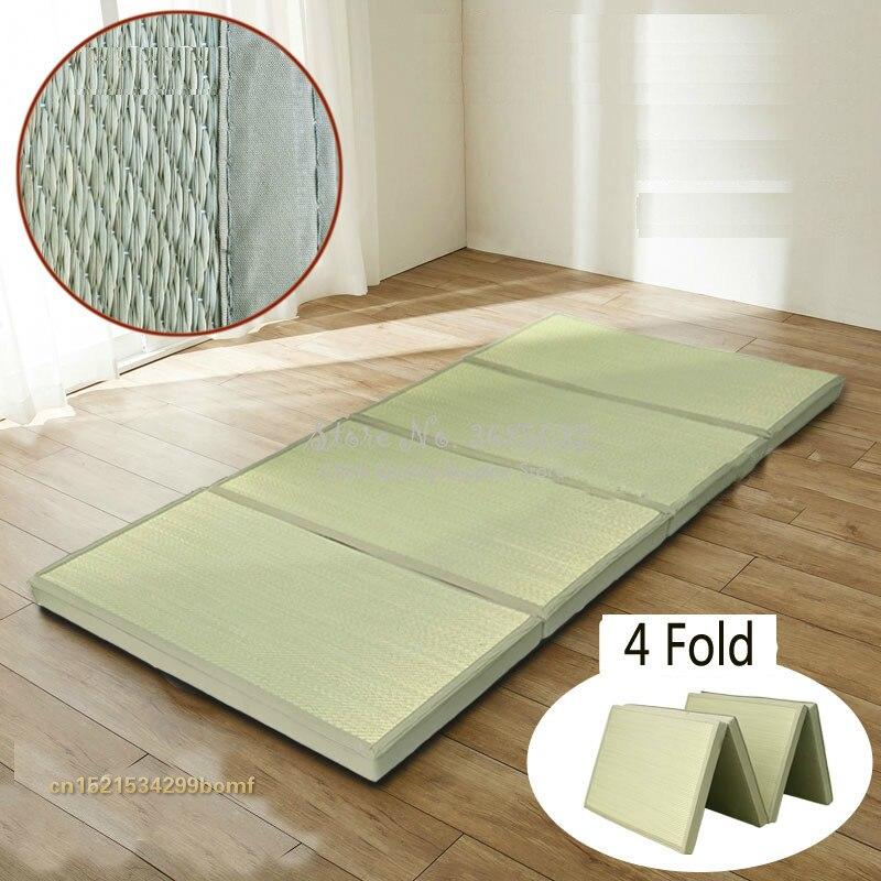 tapis de paille pliable en tissu confortable tatami rectangulaire pour dormir 4 pieces