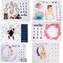 Bebê marco mensal cobertores macio floral memória cobertores meninas meninos bonito foto fundo cobertores jogar esteiras foto accessorie