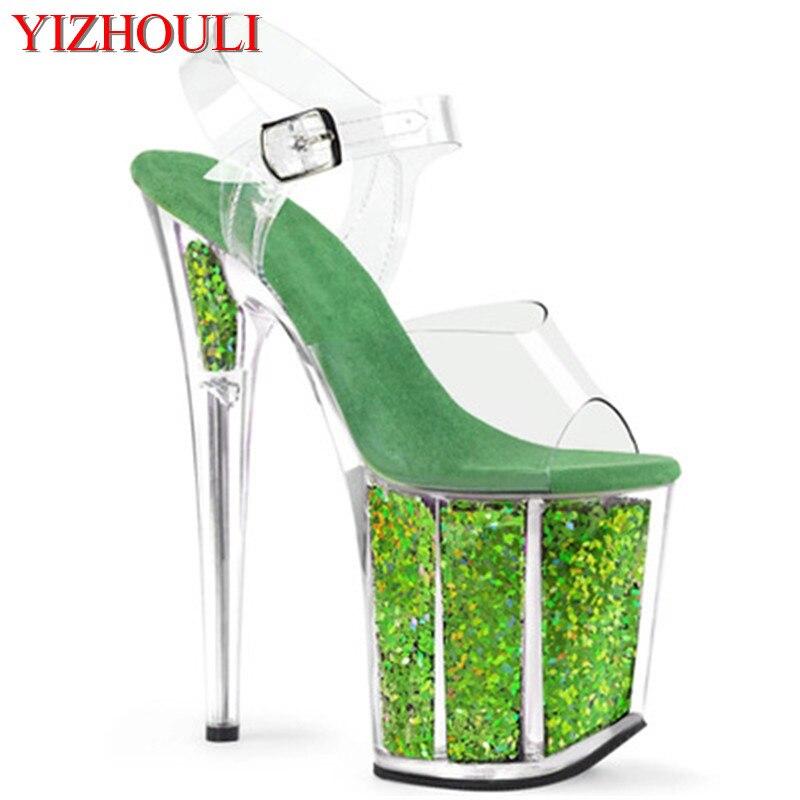 Stage Model Training Sexy Through Bright Green 20 Cm Stiletto Heels, Banquet Performance Nightclub Stiletto Sandals