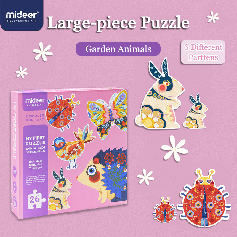 MiDeer 32PCS Puzzles 6-in-1 Garden Animal Children 3D Large Puzzle Over 2Y Early Educational Cognitive Birthday Gifts
