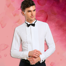 Wing Tip Collar Tuxedo Shirt Long Sleeve Men's French Cuff Button Wedding Shirts White Black Clothing Pleat Front with Bow Tie