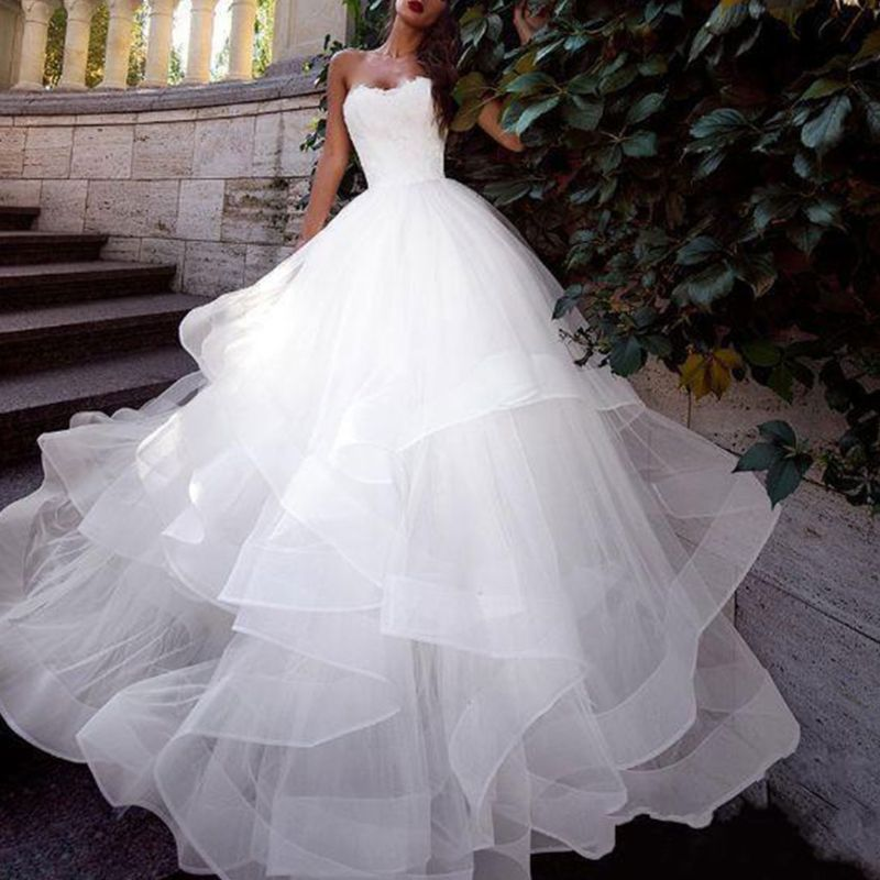 Bridal Wedding Dress Trailing Skirt Large 3-layer Ruffled Petticoat Elastic Waist Black White Lolita Petticoats Slip Lining Line