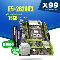 Atermiter X99 D4 Placa base con Xeon E5 2620 V3 LGA2011 3 CPU 2 uds X 8GB = 16GB 2400MHz DDR4 de memoria|Placas base| |  -