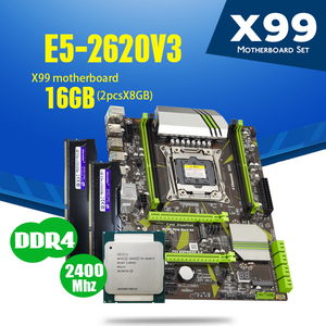 atermiter X99 D4 motherboard set with Xeon E5 2620 V3 LGA2011-3 CPU 2pcs X 8GB =16GB 2400MHz DDR4 memory(China)