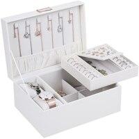 Casegrace Portable Travel Jewelry Box Organizer Leather Jewellery Ornament Case Storage