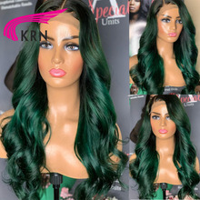 Remy Hair Wigs Body-Wave Lace-Front Green-Color Brazilian for Women with 4x4