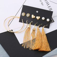 6 Pairs/Set Fashion Gold Chain Tassel Earrings Set For Women Trendy Mixed Round Circle Heart Flower Pearl Stud Earring Jewelry 3 pairs set trendy gold frosted heart stud earrings for women fashion metal hollow ball big circle earring set mixed jewelry