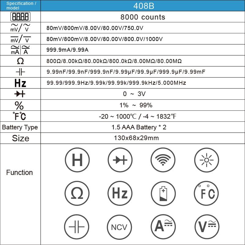 H8087fe9d37b64284a196f82e194f835ac RM409B/RM408B True-RMS Digital Multimeter Button 9999/8000 Counts With Analog Bar Graph AC/DC Voltage Ammeter Current Ohm Auto
