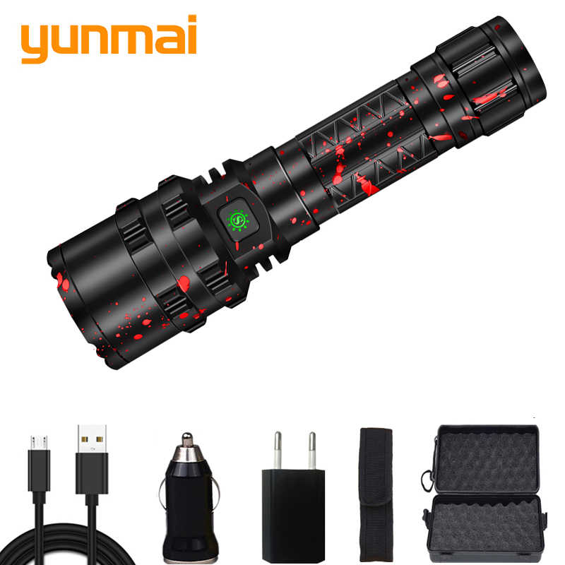Yunmai 80000 Lumens Hunting light Flashlight LED light Tactical Rechargeable powerful Waterproof Scout Torch 5 Modes 18650/26650