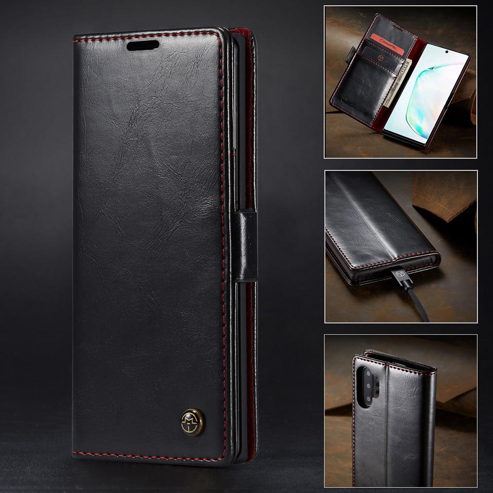Magnetiskt läderfodral till Samsung Galaxy S10 Plus S9 S8 Plus S10E S7 Note 10 Plus 9 8 5 A40 A50 A70 Plånbokväska Flip Cover