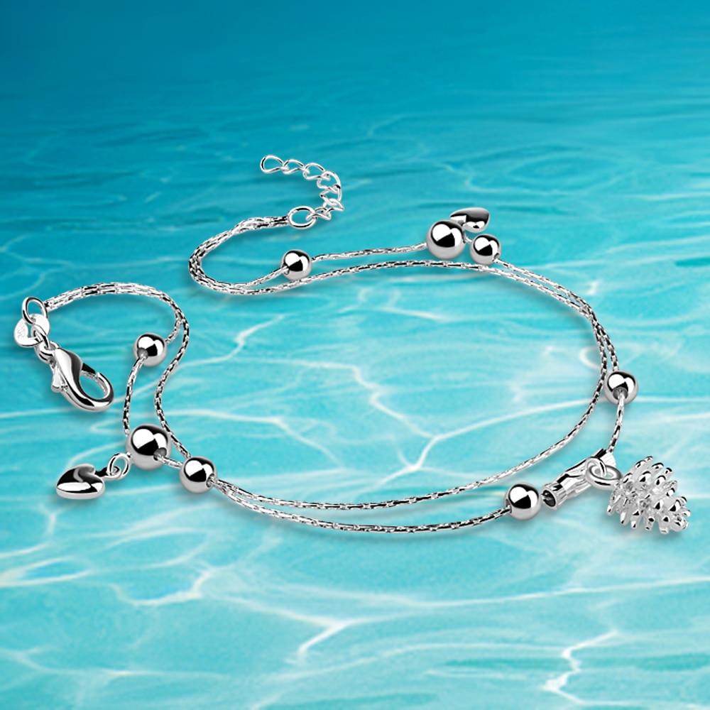 Dubbelkedja Runda pärlor Anklet hjärta Kedja Sterling silver Mode - Fina smycken