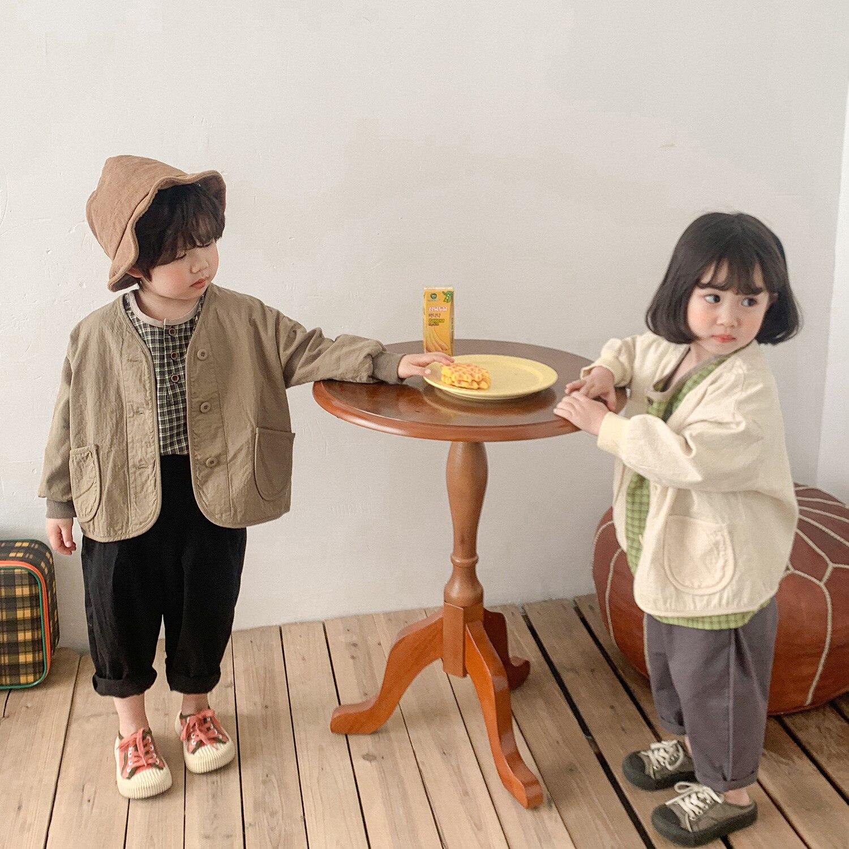 Повседневный однотонный Кардиган с длинным рукавом в Корейском стиле, свободные куртки для мальчиков и девочек, детская одежда