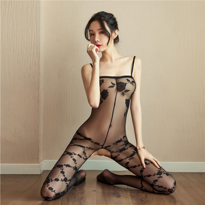 Sex body stocking Hot Erotic Silk Bodystocking Bodysuits Sex Costumes For Women Open Crotch Underwear Stockings see through