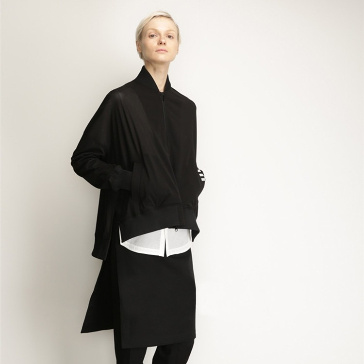 Micro for Europe And America WOMEN'S Dress Women's Three White Bar Pocket Handsome Cool Sports Wave Style Jacket Coat