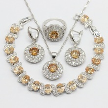 Orange Cubic Zirconia Silver Color Jewelry Sets Necklace Pendant Earrings Bracelet For Women Free Gift Box