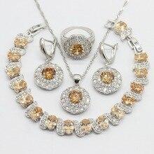 Zircon cubique Orange couleur argent ensembles de bijoux collier pendentif boucles doreilles Bracelet pour les femmes boîte cadeau gratuite