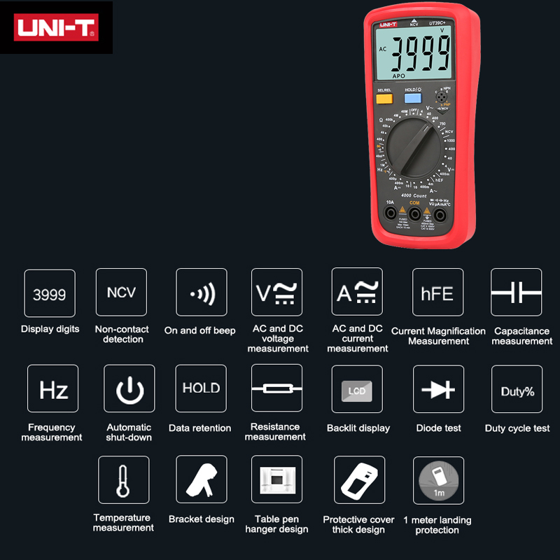 Counts 6000 NCV AC Digital UT890C DC Multimeter Tester UT890D Current T UNI V LCD True RMS Capacitance  Display Resistance