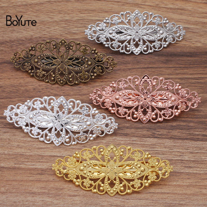 BoYuTe (10 Pieces/Lot) 35*80MM Filigree Flower Hairpin Wholesale 5 Colors Plated Women Hair Clips|flower hairpins|clip womenfiligree hair clip - AliExpress