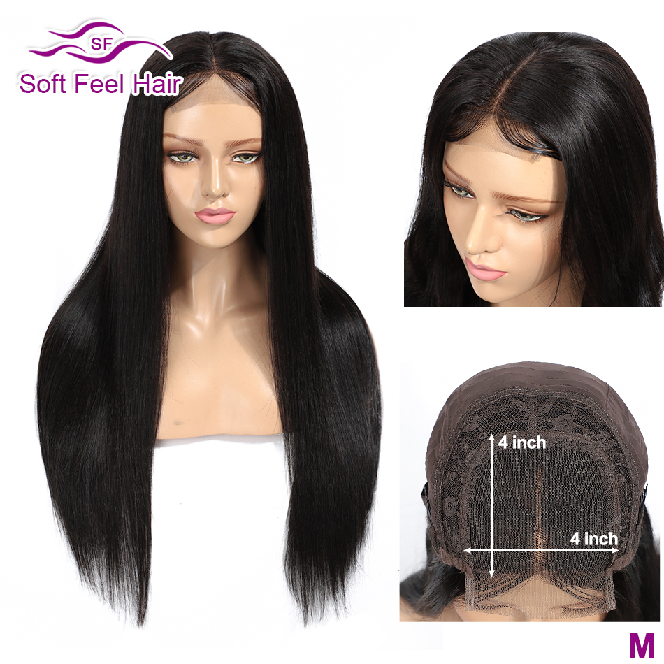 Soft Feel Hair 4*4 Lace Closure Human Hair Wigs Pre Plucked Brazilian Wigs For Black Women 1B Remy Lace Closure Wig Middle Ratio