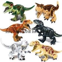 лучшая цена jurassic World Park Dinosaur world Figures Tyrannosaurs Rex Building Blocks baby Toys For Children Marvel