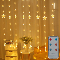 Thrisdar 2*1.5M 80PCS Starry Star Window Curtain String Light Christmas Wedding Bedroom Holiday Fairy Star Icicle Curtain Light