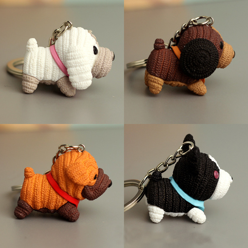 2019 Plush Wool Toys Dog Car Keychain Animal Couple Keychain Lovely Car Key Chain Gift For Girl Women And Men Jewelry Day Bag